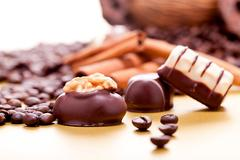 Collection of different chocolate pralines truffels Stock Photos