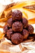 collection of different chocolate pralines truffels - stock photo
