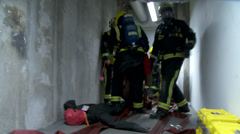 Handheld footage of London Fire Brigade on exercise Stock Footage