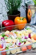 Fresh healthy Vegetables ready for cooking - stock photo