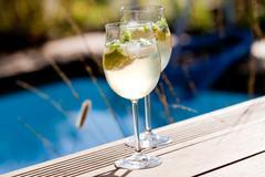 hugo prosecco elderflower soda ice summer drink - stock photo