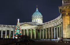 kazan cathedral at christmas - st. petersburg - stock photo