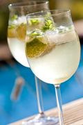Hugo prosecco elderflower soda ice summer drink Stock Photos