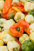 Colorfull aromatic fresh bell pepper paprika on market Stock Photos