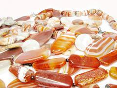 Heap of red semiprecious beads Stock Photos