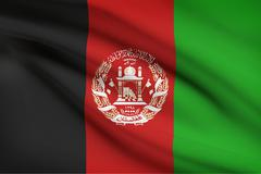 Afghanistan flag blowing in the wind. part of a series. - stock illustration