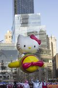 Hello Kitty balloon flown low due to windy weather in 2013 Macy's Parade Stock Photos