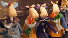 Stuffed Animals Toys Christmas Elks at Fair HD Stock Footage