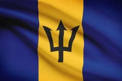 barbados flag blowing in the wind. part of a series. - stock illustration