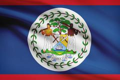 belize flag blowing in the wind. part of a series. - stock illustration