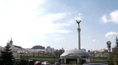 Independence Square in downtown Kiev Stock Footage