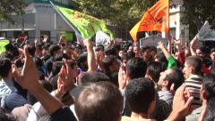 Iran, crowd celebrates religious holiday, muslims, Islam Stock Footage