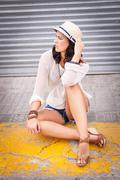 Young attractive woman in summer trendy fashion Stock Photos