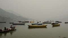 Boats on Lake Phewa in Pokhara Stock Footage