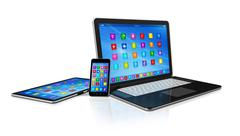 smartphone, digital tablet computer and laptop - stock illustration