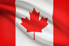 canadian flag blowing in the wind. part of a series. - stock illustration