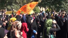 Iran, women celebrate 'Eid al-Ghadeer', veiled, headscarf, chadors, hijab Stock Footage