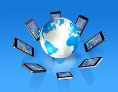 Smartphones around world globe, global communication Stock Illustration