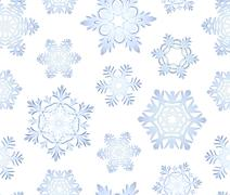 blue icy snowflakes set seamless background - stock illustration