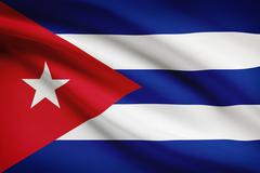 Stock Illustration of cuban flag blowing in the wind. part of a series.