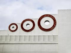 art deco circles in red - stock photo