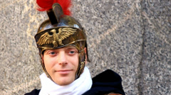 Young soldier in Roman army 5 Stock Footage