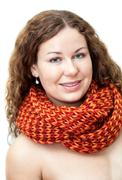 happy young woman with naked torso in neck scarf - stock photo