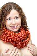 young woman with naked body with scarf on neck isolated on white covering bre - stock photo