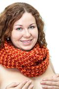 naked woman with scarf on the neck covering her breast by hands  isolated on  - stock photo