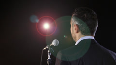 Speaker with flash lights and stage lights Stock Footage