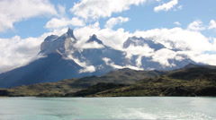 Cuernos Paine mountains in Torres del Paine National park, Chile travel video Stock Footage