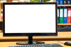 monitor, keyboard, computer mouse on the office table, workplace - stock photo