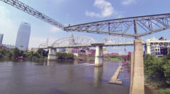 Nashville Wide River Bridge and Jet Skis 1 HD Stock Footage