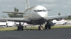 Old Boeing 707 jet airplane - stock footage