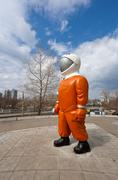 "Samara, russia - april 18: sculpture ""cosmonaut"" next to the museum and exhib Stock Photos"