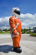"Samara, russia - june 14: sculpture ""cosmonaut"" next to the museum and exhibi Stock Photos"