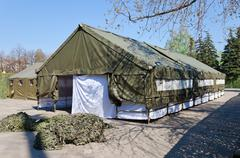 The army expedition tents Stock Photos
