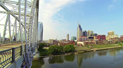 Nashville Wide River Shelby Avenue Bridge 2 HD Stock Footage