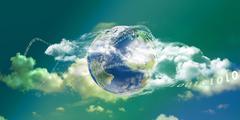 Cloud computing technology panoramic Stock Illustration