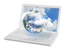 Laptop contains planet earth Stock Illustration
