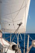 Rigging, ropes, shrouds and sail crop Stock Photos