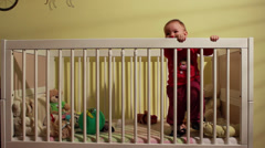 Angry Baby In Crib Crying Stock Footage