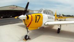 T-34 Mentor on Ramp Denton Texas Airshow Stock Footage