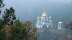Church of saint archangel Mikhail in mountains in Crimea Stock Footage