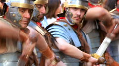 Roman army 10 (swords drawn) Stock Footage