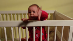 Cute Baby In  Crib Crying,Close Up Face Stock Footage