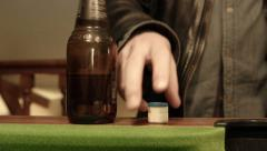 Playing Pool grabing the chalk Stock Footage