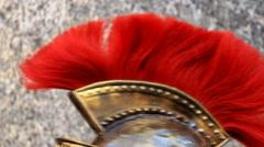 Roman army 9 (Roman eagle on helmet) Stock Footage