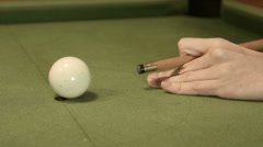 Playing Snooker missing first shot Stock Footage