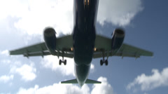 Shot of a Plane Flying Directly Above Camera Stock Footage